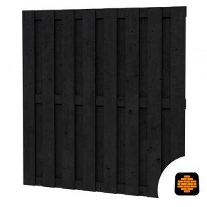 Grenen-Plankenscherm-180-x-180-cm-15-Planks--Zwart-Geimpregneerd-wormer