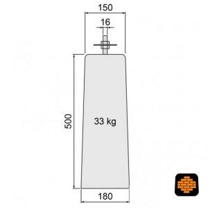 Betonpoer-directtuinshop-TAPS-15-x-18-x-50-cm-met-verzinkte-plaat-vzv-gelaste-bout-grijs-schets